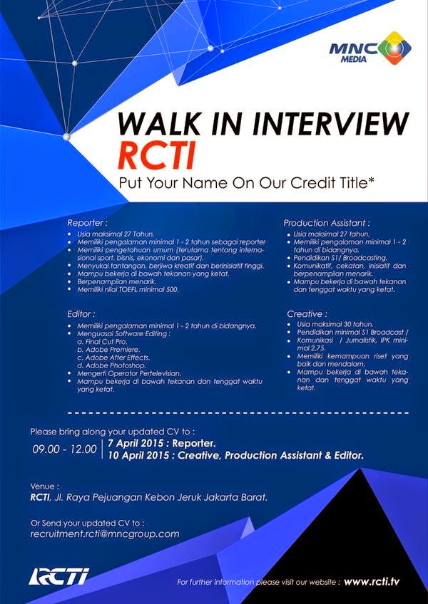 Walk In Interview  Reporter RCTI April 2015
