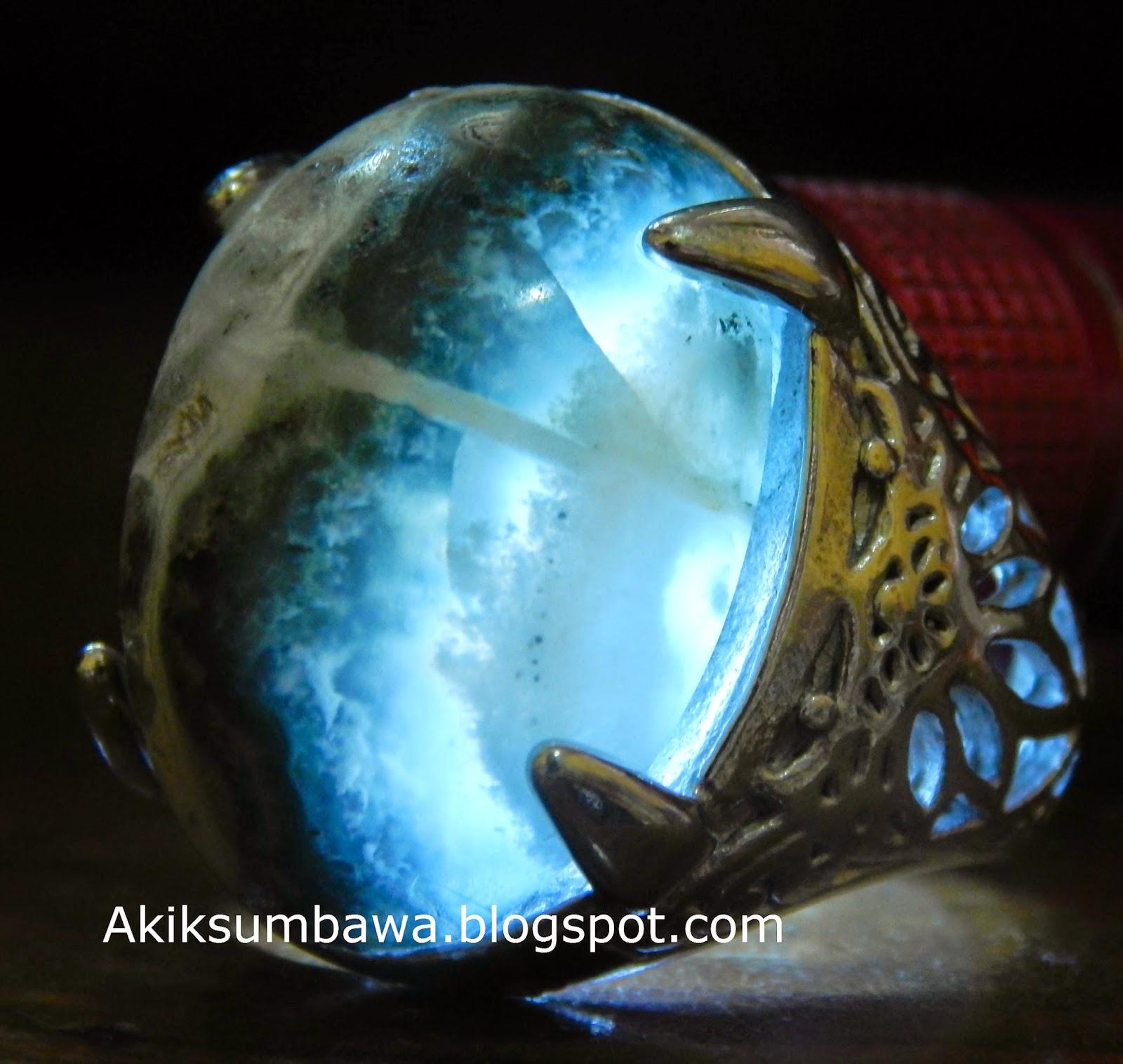 Chrysocolla Motif Tapak jalak Semi kristal