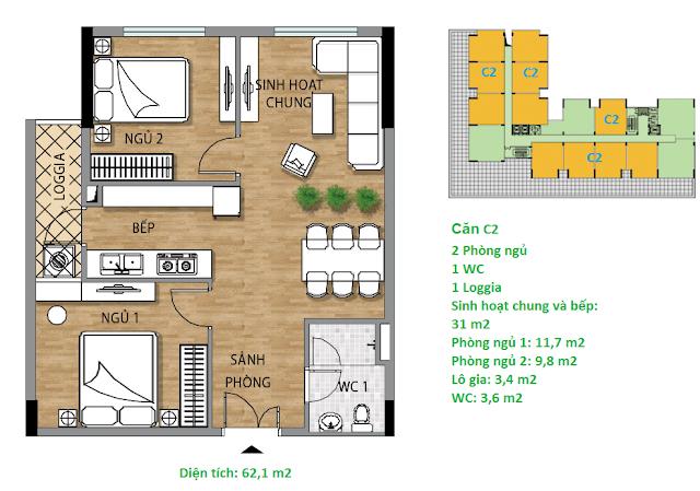 Căn hộ C2 62.1 m2 tầng 3-6 chung cư Valencia Garden