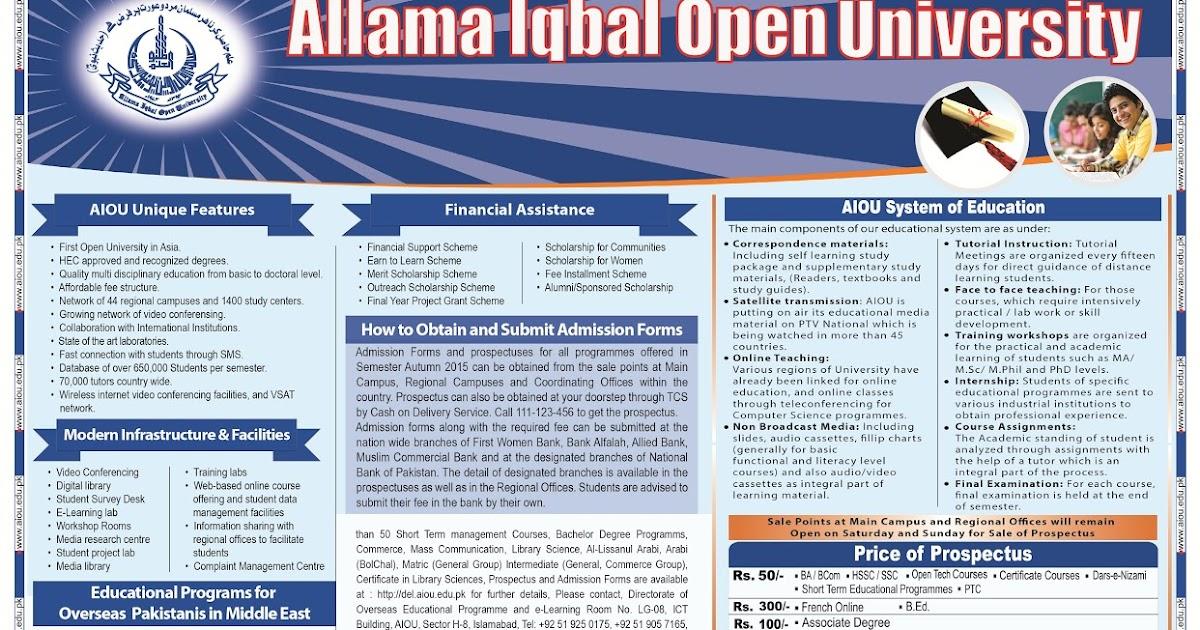 Allama Iqbal University Assignments