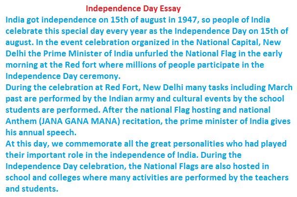 Essay on independence day for class 3