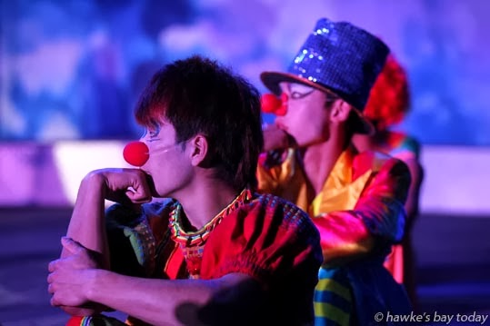 Clowns await their turn in the ring - Zirka Circus, Anderson Park, Napier photograph