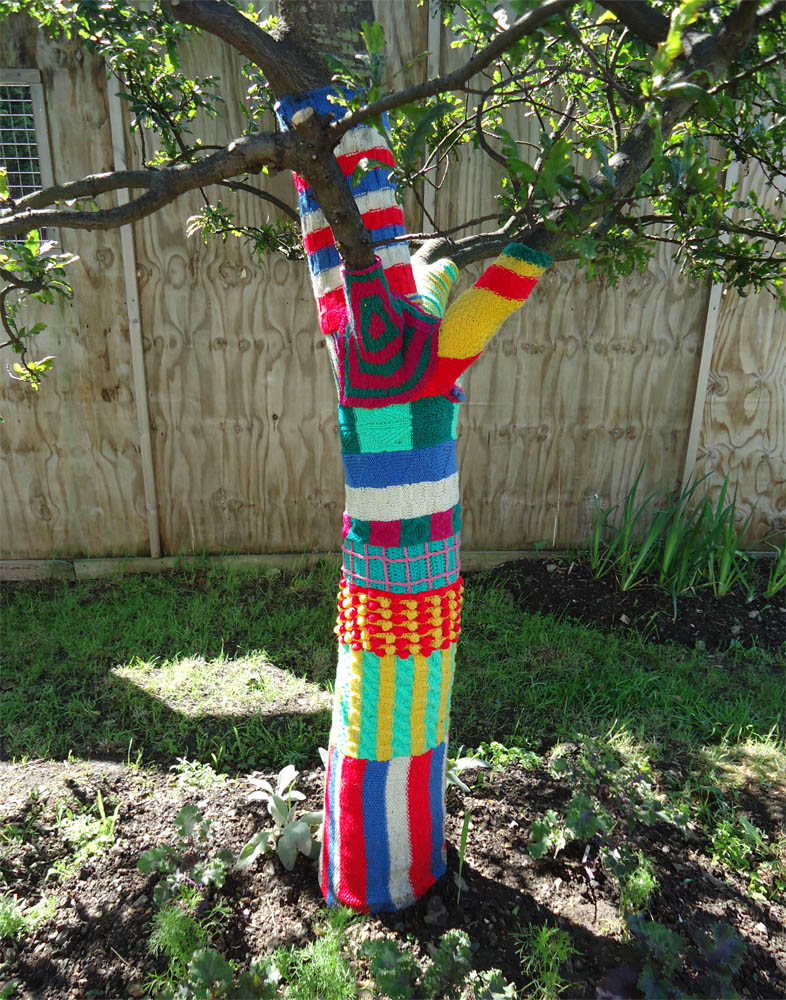 ivy arch yarn bombed trees in worthing