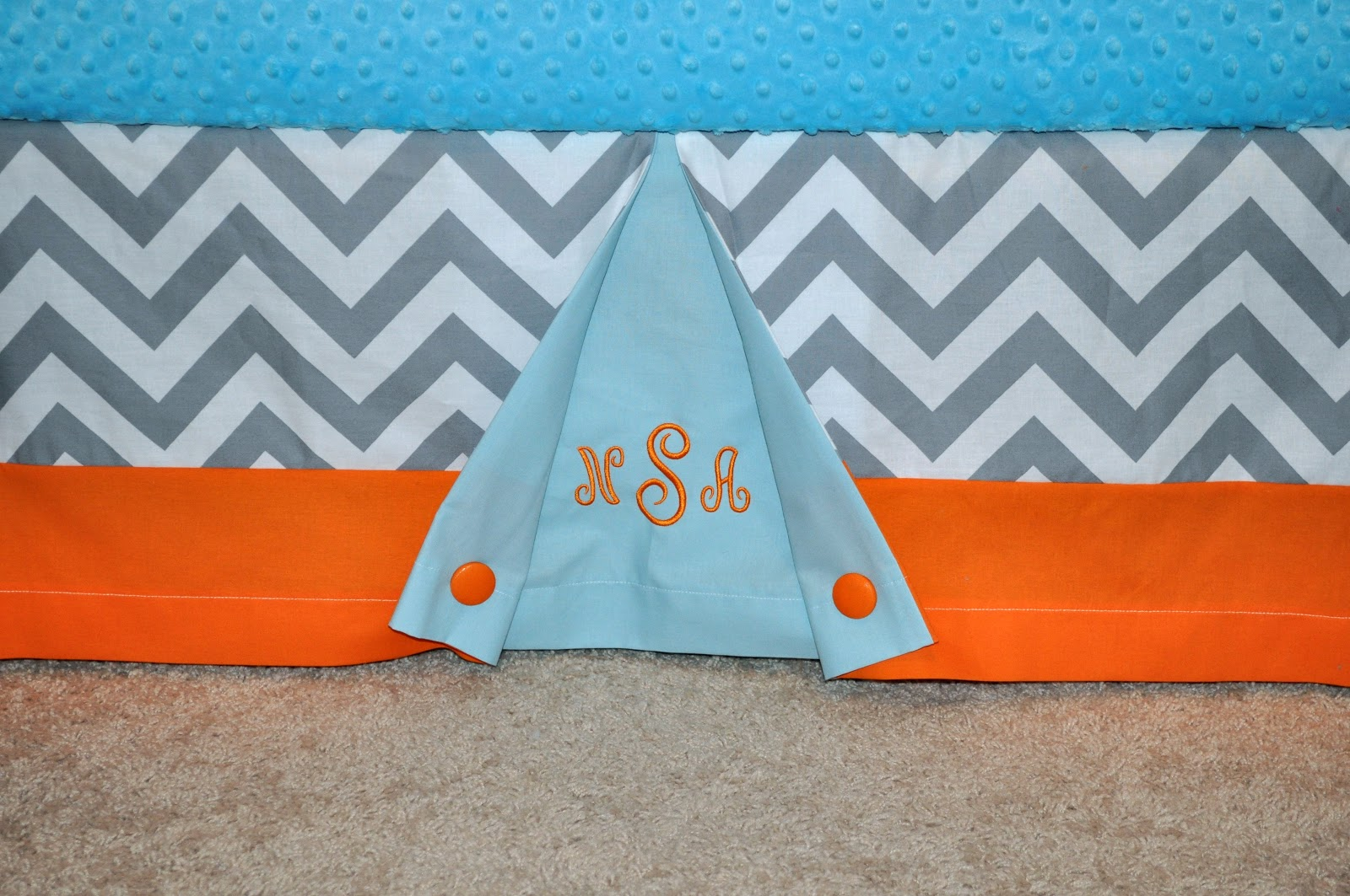 Precious And Prosperous Designs Grey Chevron Orange And Light Blue Crib Be