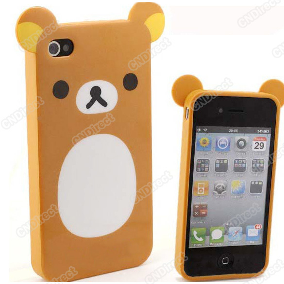Lovely Relax Rilakkuma Cartoon Bear Silicone Case Cover For iPhone 4 4G 4S