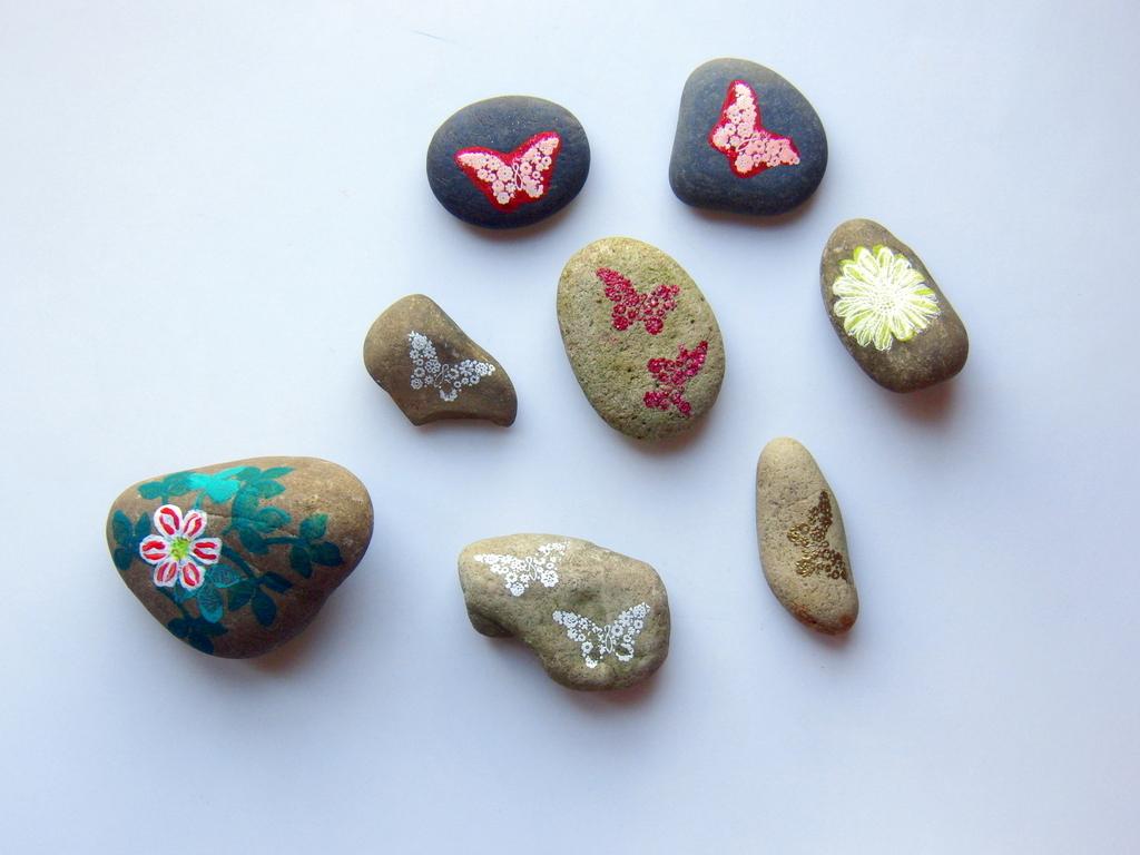 eri 39 s kreativwerkstatt bestempelte steine mit papillon. Black Bedroom Furniture Sets. Home Design Ideas
