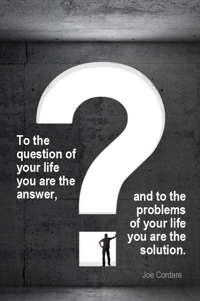 visual quote - image quotation for PROBLEMS - To the question of your life you are the answer, and to the problems of your life you are the solution. - Joe Cordare