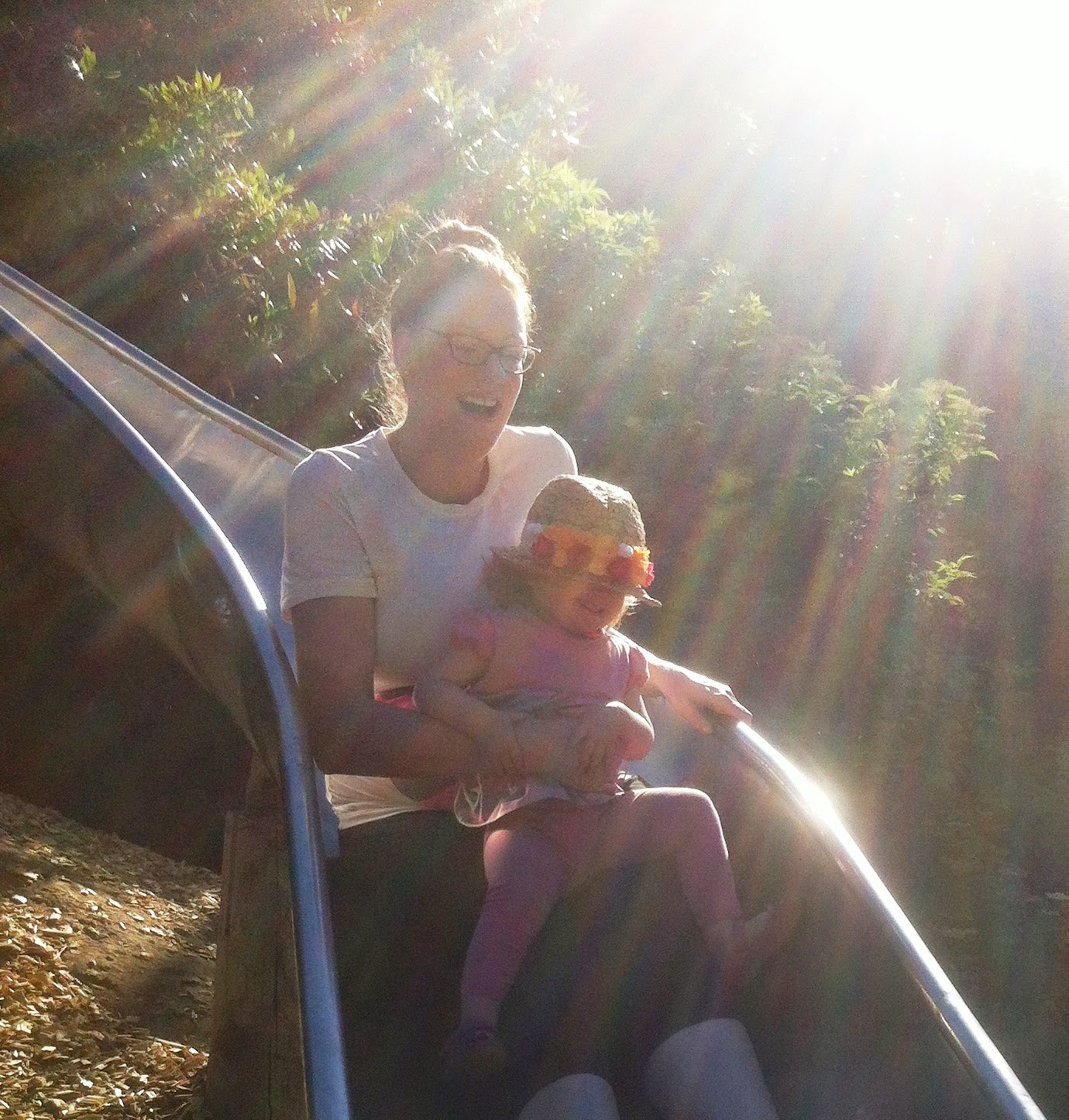 Mum and Eva on the slide