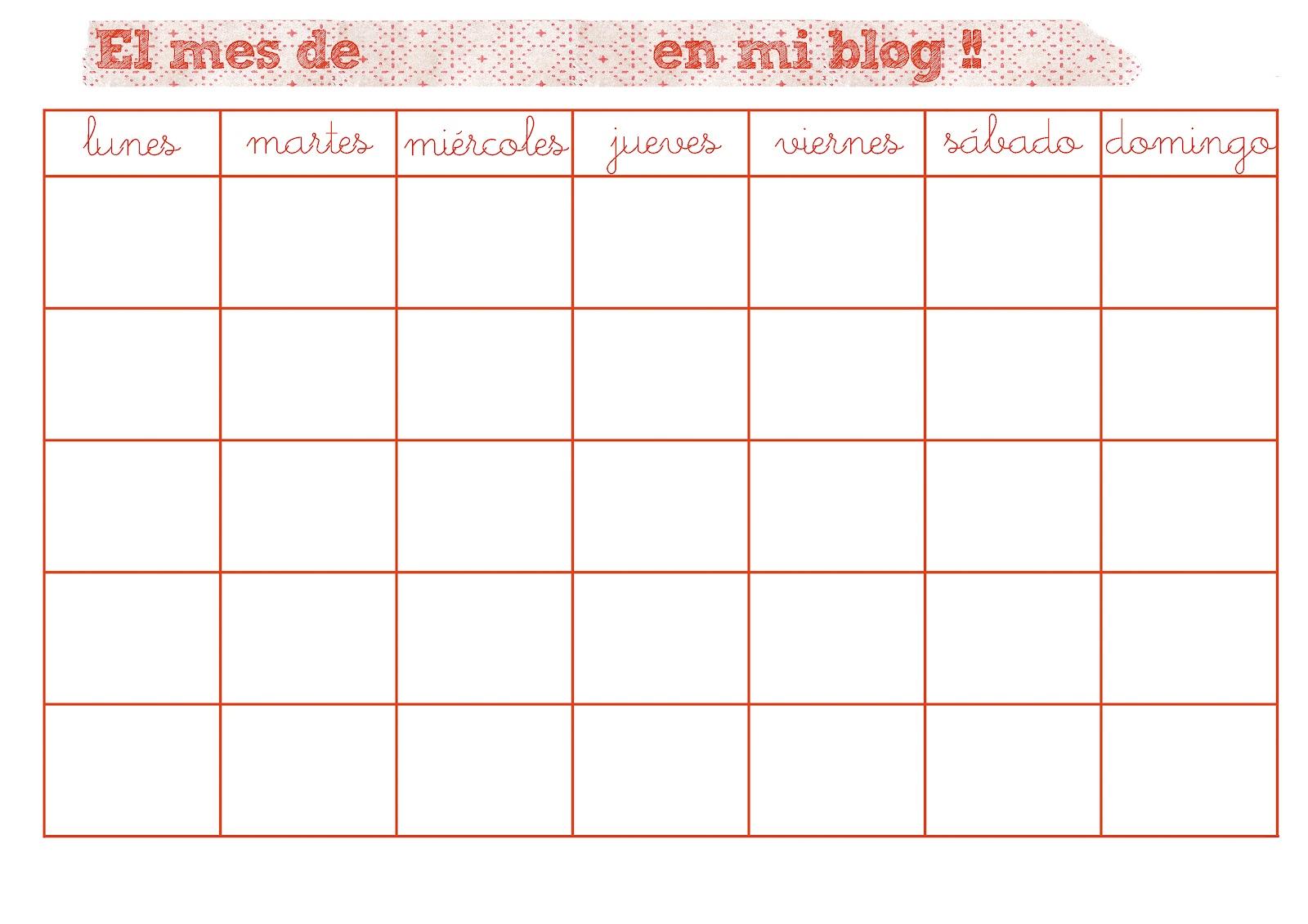 DE LUNARES Y NARANJAS: Imprimible: un planificador mensual para tu blog!