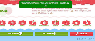 Pick tea leaves and sell them to earn coins and gold in Golden Tea online game