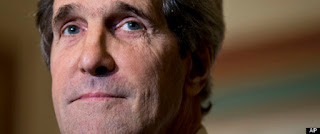 """This Dec. 3, 2012 file photo shows Senate Foreign Relations Chairman Sen. John Kerry, D-Mass., at a news conference on Capitol Hill in Washington. The top contenders for the """"big three"""" jobs in President Barack Obama's Cabinet are white men, raising fresh concerns among Democratic women about diversity in the president's inner-circle. Their long-simmering worries were rekindled after Susan Rice withdrew under pressure from consideration as the next secretary of state. (AP Photo/J. Scott Appl"""