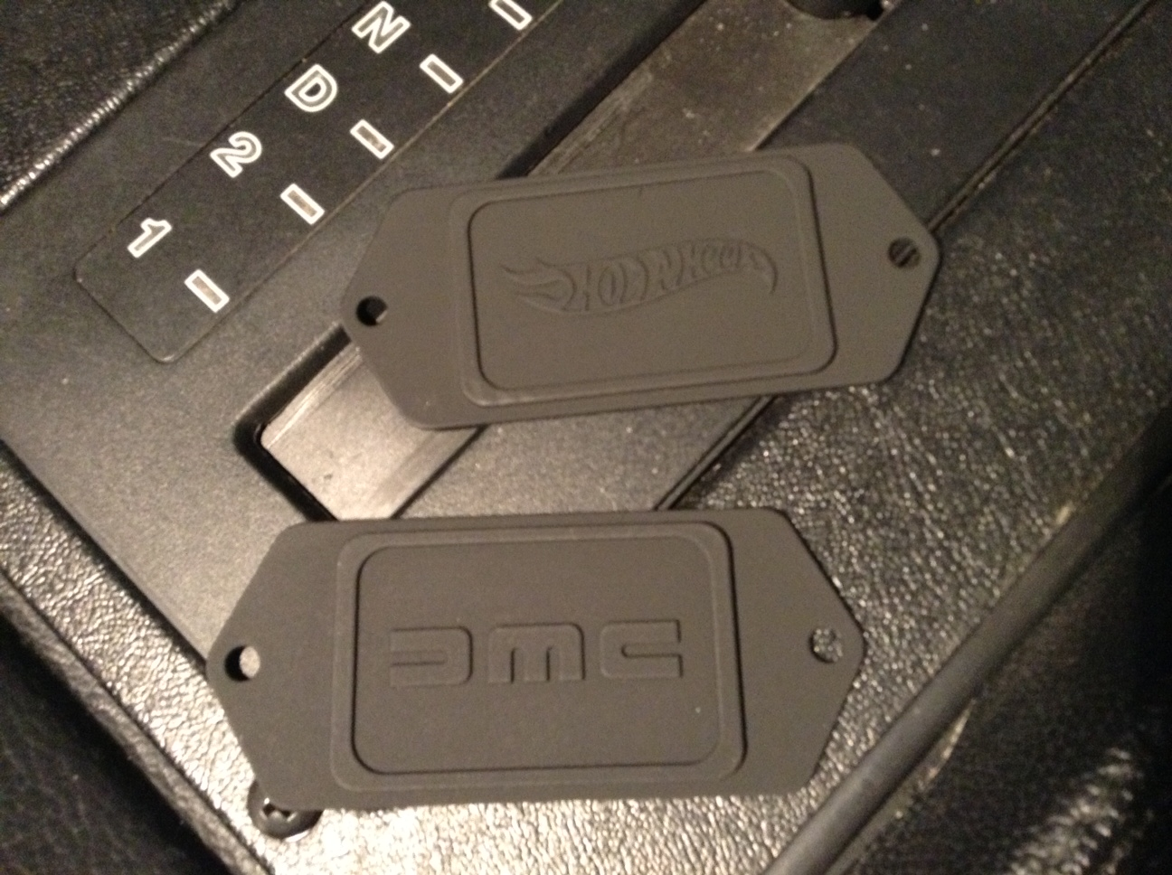 Custom Clock Plates. One With DMC Logo, Other With Hot Wheels Logo