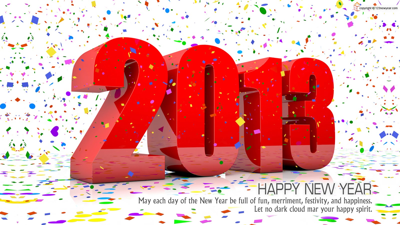 Free Wallpaper 3D Happy new year 2013 3D