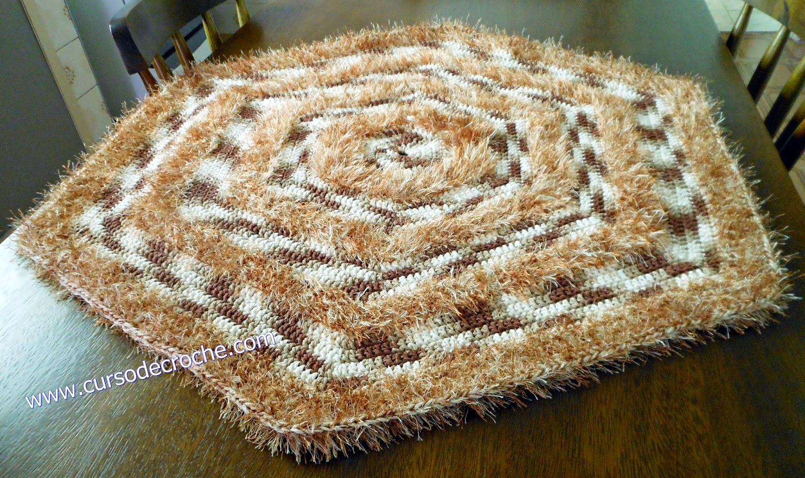 aprender croche tapetes sextavado decore loja curso de croche dvd video-aulas frete gratis edinir-croche