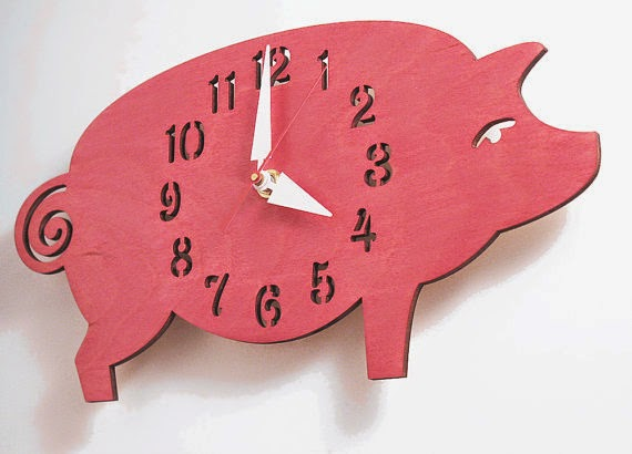 "The ""Possu"" designer wall mounted clock from LeLuni pink red pig piggy baby shower gift nursery decor"