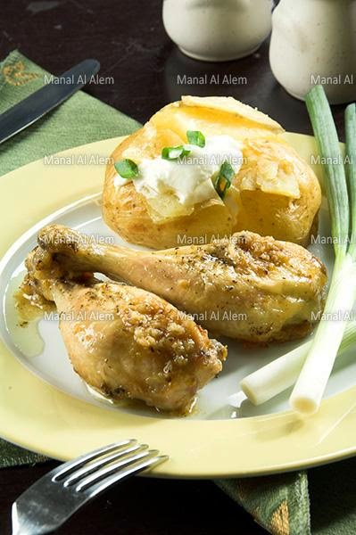 أفخاذ الدجاج بالزعتر و الثوم