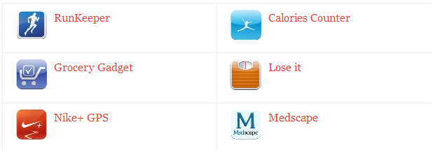 RunKeeper, Clories Counter, Grocery Gadget, Lose it, Neke+ GPS, Medscape