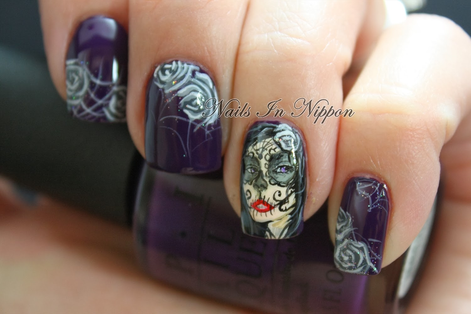 Nails In Nippon: Sugar Skull Girl with Roses and Spiderwebs