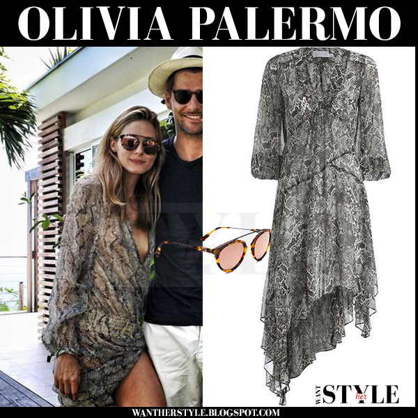 Olivia Palermo in grey snake print sheer gemma dress Zimmermann what she wore