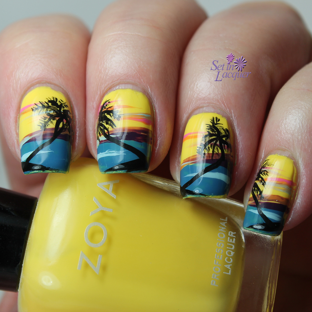 Beach sunset with palm tree tropical nail art