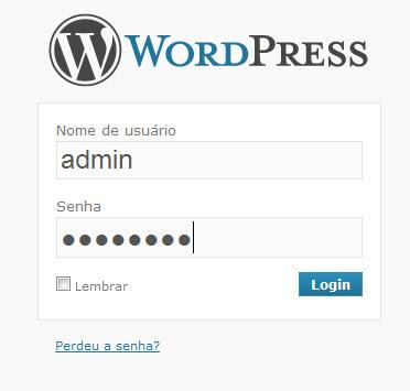 Logar wordpress login e senha
