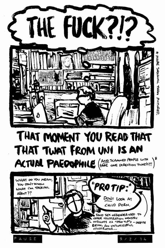 Comic strip by Alex Hahn about hearing the news that a former classmate was arrested for sex offences