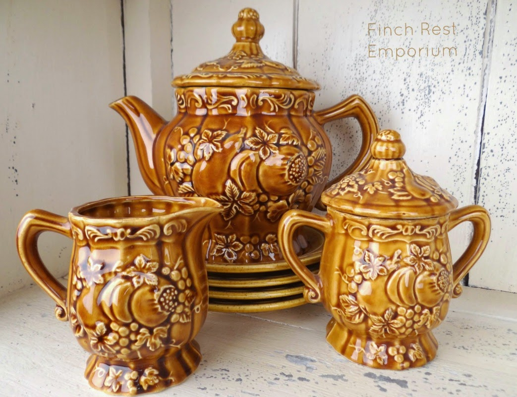 VINTAGE EMBOSSED TEA SET