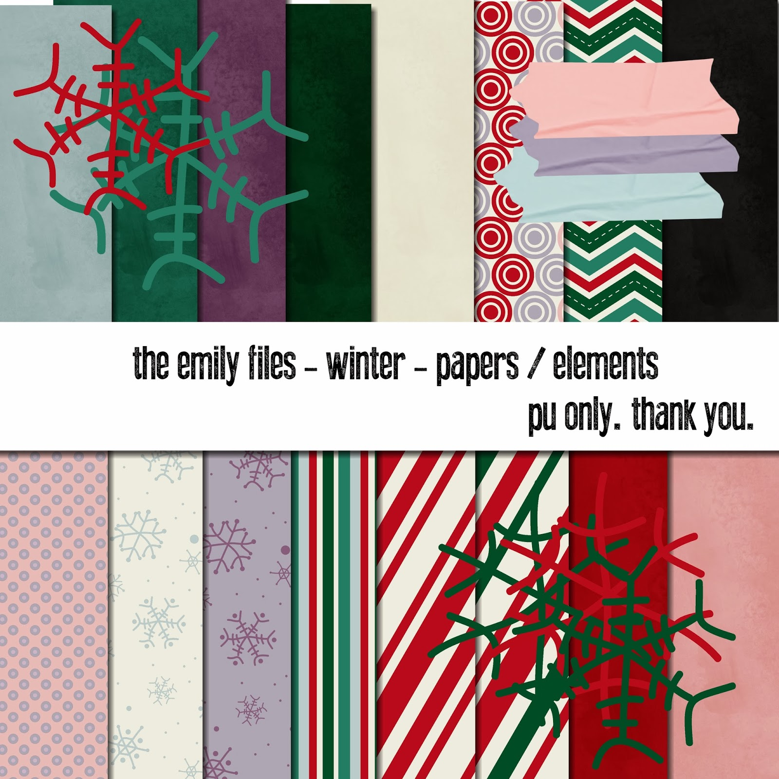 Winter Digital Scrapbooking Freebie Kit