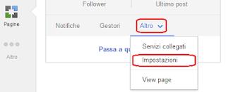 Altro - Impostazioni pagina Google+
