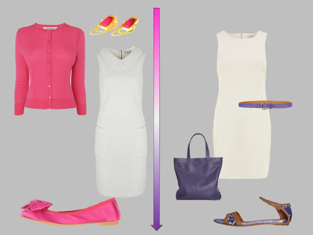 white dresses with pink and purple accessories