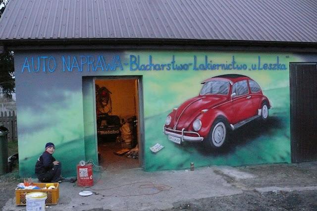 Obraz namalowany na ścianie VW Garbus, Bydgoszcz
