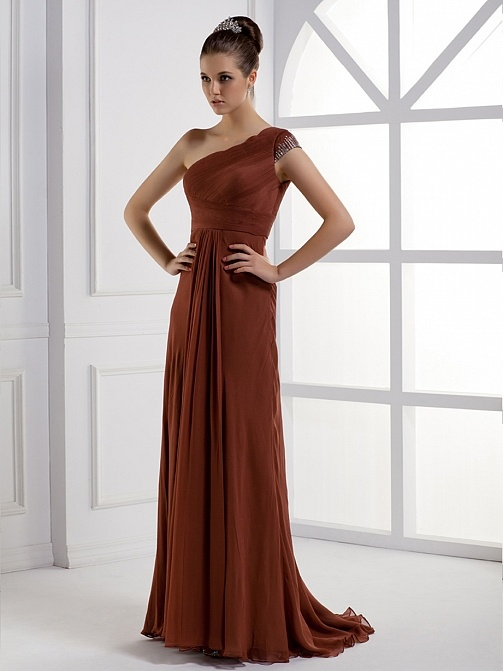Dark brown maxi dress for party