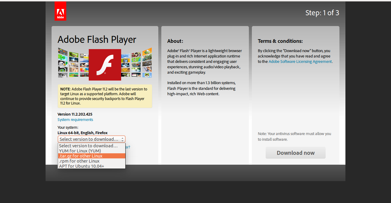 Install Adobe flash player on Mozilla Firefox for Ubuntu 14.10/14.04/12.04/10.04