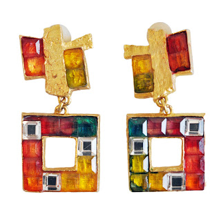 Vintage 1990's multi-colored gemstone Christian Lacroix earrings.