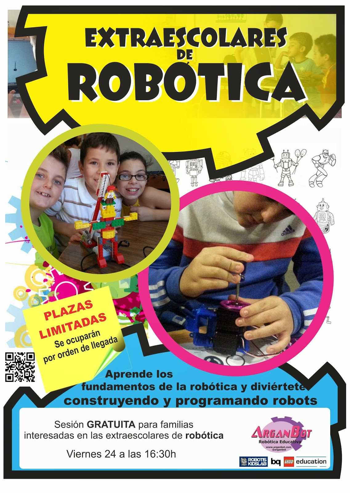 Cartel de sesión gratuita de Robótica