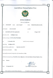 SAAF military service certificate