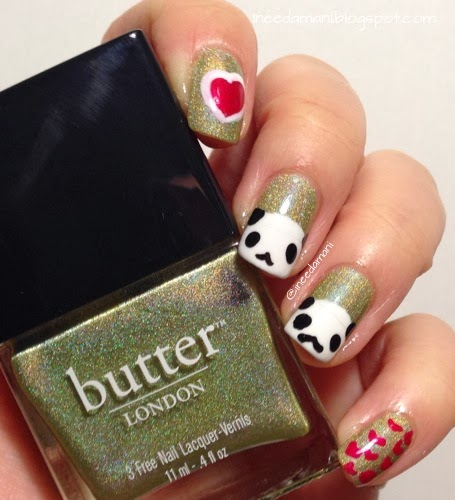 pandas and hearts nails for valentine's day