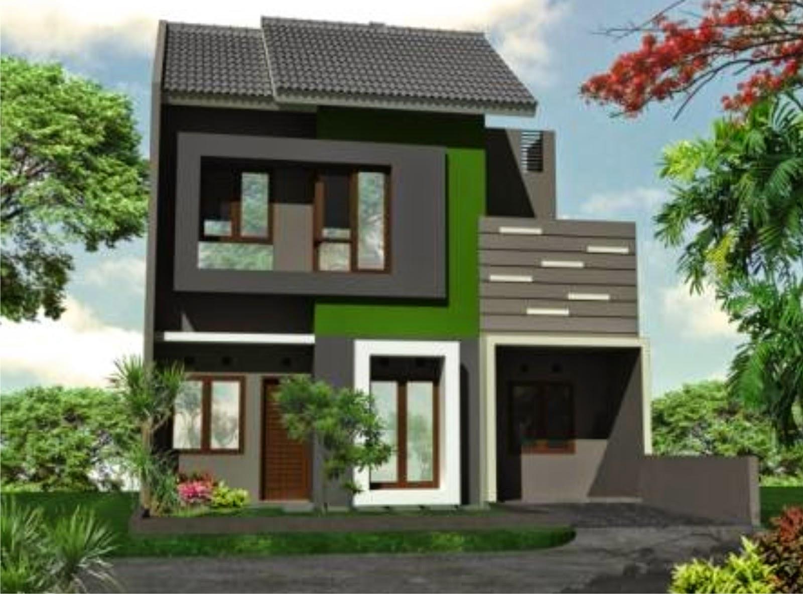 Contoh Model Cat Rumah Minimalis lt 2 warna hijau