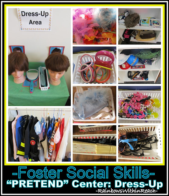 "photo of: ""Pretend"" Center in Preschool Setting, Dress-Up Costume Articles to Foster Social Skills via RainbowsWithinReach"