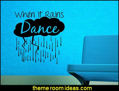 When it rains with lightning clouds and rain drops a wall decor vinyl lettering decal sticker art