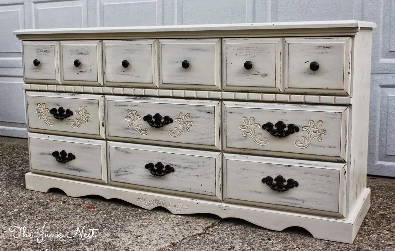 The Junk Nest Antique White 9Drawer Dresser - Painting Antique Furniture White My Web Value