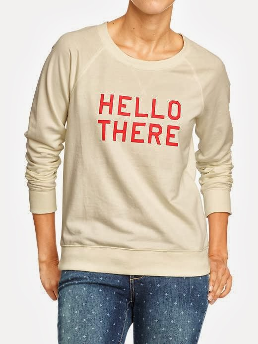 old navy hello there sweatshirt