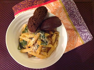 Pumpkin, Spinach, and Sausage Pasta