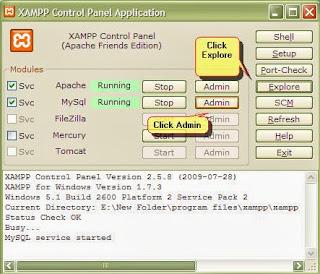 Click Start to run Apache and MySQL.