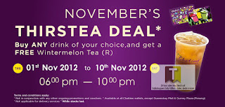 Chatime Thirstea Deal Buy 1 Free Tea 2012