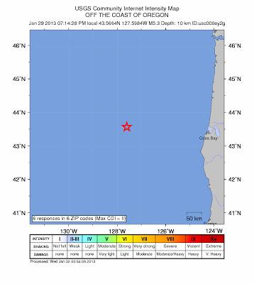 Epicentro sismo 5,3 grados, Oregon, Estados Unidos, 30 de Enero 2013