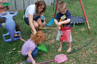 kids at bug birthday party outside