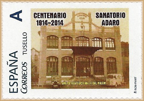 Sello personalizado del centenario del Sanatorio Adaro