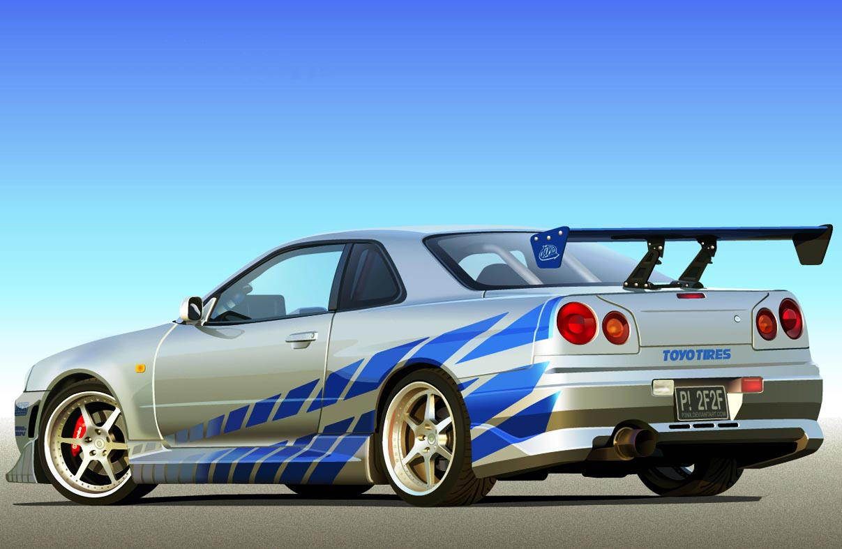 brian o conner s nissan skyline r34 gt r 2 fast 2 furious auto car. Black Bedroom Furniture Sets. Home Design Ideas