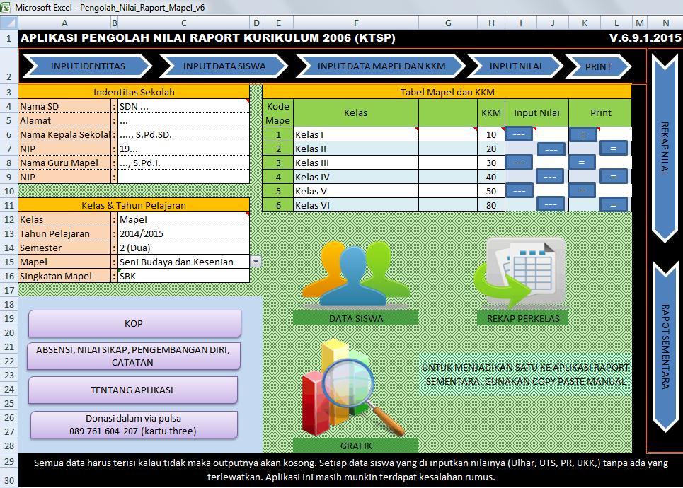 Aplikasi Raport Ktsp Mapel Sd Excel